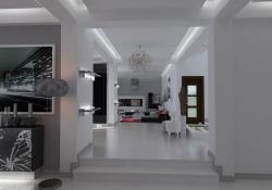 Amenajare Vila Bucuresti - hol, prezentare grafica 3d fotorealista (vedere spre living)