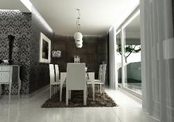 Design de interior - amenajare dinning cu prezentare 3D fotorelista , unghi 3