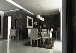Design de interior - amenajare dinning cu prezentare 3D fotorelista , unghi 2