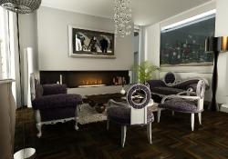 Design de interior - amenajare living stil glamour cu prezentare 3D fotorelista (varianta 1) unghi 2